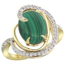 Natural 5.03 ctw malachite & Diamond Engagement Ring 14K Yellow Gold - SC#R289231Y47
