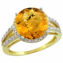 Natural 5.34 ctw Whisky-quartz & Diamond Engagement Ring 10K Yellow Gold - SC#CY926110