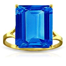 Genuine 7 ctw Blue Topaz Ring Jewelry 14KT Yellow Gold - GG#2161
