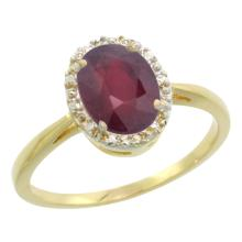 Natural 1.52 ctw Ruby & Diamond Engagement Ring 10K Yellow Gold - SC#CY914101