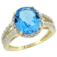 Natural 3.47 ctw Swiss-blue-topaz & Diamond Engagement Ring 14K Yellow Gold - SC#CY404106