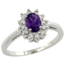Natural 0.67 ctw Amethyst & Diamond Engagement Ring 14K White Gold - SC#CW401103
