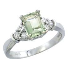 Natural 1.48 ctw green-amethyst & Diamond Engagement Ring 14K White Gold - SC#CW402169
