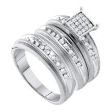 10K White Gold Jewelry 0.42 ctw Diamond Trio Ring Set - GD#56479