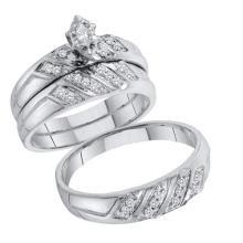 10K White Gold Jewelry 0.25 ctw Diamond Trio Ring Set - GD#57088