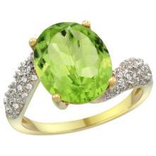 Natural 5.08 ctw peridot & Diamond Engagement Ring 14K Yellow Gold - SC#R293431Y11