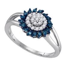 10K White Gold Jewelry 0.25 ctw White Diamond & Blue Diamond Ladies Ring - GD#89434