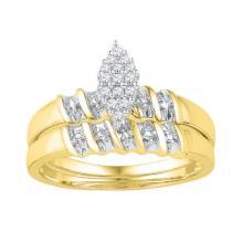 10K Yellow Gold Jewelry 0.10 ctw Diamond Bridal Ring Set - GD#97192