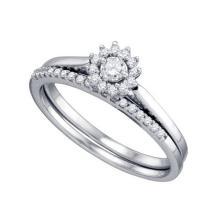 10K White Gold Jewelry 0.24 ctw Diamond Bridal Ring Set - GD#75270
