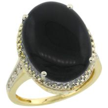 Natural 6.28 ctw Onyx & Diamond Engagement Ring 10K Yellow Gold - SC#CY917108