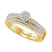 10K Yellow Gold Jewelry 0.20 ctw Diamond Bridal Ring Set - GD#64688