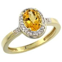 Natural 1.08 ctw Citrine & Diamond Engagement Ring 14K Yellow Gold - SC#CY409150