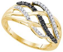 10K Yellow Gold Jewelry 0.25 ctw White Diamond & Black Diamond Ladies Ring - GD#90506