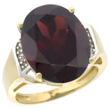 Natural 11.02 ctw Garnet & Diamond Engagement Ring 10K Yellow Gold - SC#CY910131