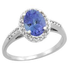 Natural 1.43 ctw Tanzanite & Diamond Engagement Ring 10K White Gold - SC#CW948137