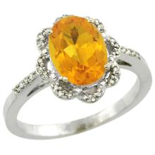 Natural 1.85 ctw Citrine & Diamond Engagement Ring 10K White Gold - SC#CW909105