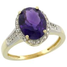 Natural 2.49 ctw Amethyst & Diamond Engagement Ring 10K Yellow Gold - SC#CY901109