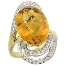Natural 11.2 ctw quartz & Diamond Engagement Ring 14K Yellow Gold - SC#R309951Y26