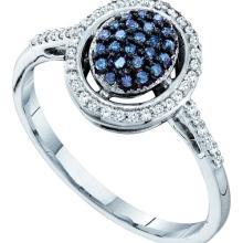 10K White Gold Jewelry 0.25 ctw White Diamond & Blue Diamond Ladies Ring - GD#56901
