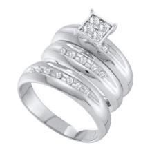 10K White Gold Jewelry 0.40 ctw Diamond Trio Ring Set - GD#56459