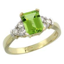 Natural 1.48 ctw peridot & Diamond Engagement Ring 14K Yellow Gold - SC#CY411169
