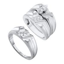 10K White Gold Jewelry 0.25 ctw Diamond Trio Ring Set - GD#39004