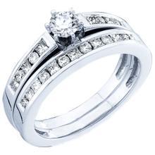 14K White Gold Jewelry 0.75 ctw Diamond Bridal Ring Set - GD#18503