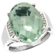 Natural 11.02 ctw Green-amethyst & Diamond Engagement Ring 10K White Gold - SC#CW902131