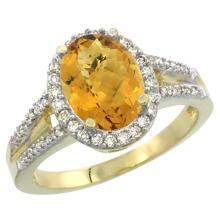 Natural 2.72 ctw whisky-quartz & Diamond Engagement Ring 10K Yellow Gold - SC#CY926174
