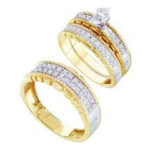 10K Yellow Gold Jewelry 0.49 ctw Diamond Trio Ring Set - GD#45937