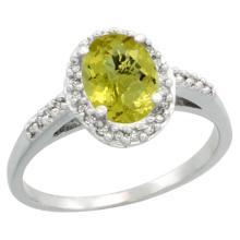 Natural 1.3 ctw Lemon-quartz & Diamond Engagement Ring 14K White Gold - SC#CW427137