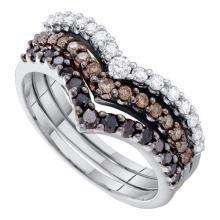 14K White Gold Jewelry 1.0 ctw White Diamond & Cognac Diamond Ladies Ring - GD#52334