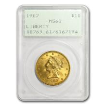 One $10 Liberty Gold Eagle MS-61 PCGS (Random Year)