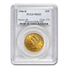 One $10 Liberty Gold Eagle MS-63 PCGS (Random Year)