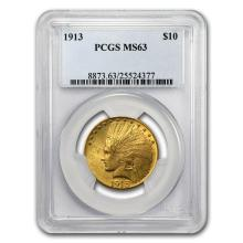 One 1913 $10 Indian Gold Eagle MS-63 PCGS