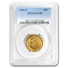One 1910-S $10 Indian Gold Eagle AU-55 PCGS
