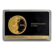 One 1 oz Gold Round - Argor-Heraeus Swiss Helvetia Design (In Assay)