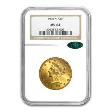 One $10 Liberty Gold Eagle MS-64 PCGS/NGC (CAC) (Random Year)