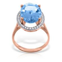 Genuine 7.58 ctw Blue Topaz & Diamond Ring Jewelry 14KT Rose Gold - GG#4874