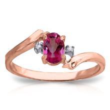 Genuine 0.46 ctw Pink Topaz & Diamond Ring Jewelry 14KT Rose Gold - GG#3035