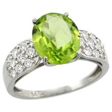 Natural 3.13 ctw peridot & Diamond Engagement Ring 14K White Gold - SC#R289771W11