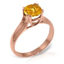 Genuine 1.1 ctw Citrine Ring Jewelry 14KT Rose Gold - GG#3157
