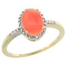 Natural 1.15 ctw Coral & Diamond Engagement Ring 10K Yellow Gold - SC#CY945113