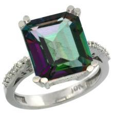 Natural 5.48 ctw Mystic-topaz & Diamond Engagement Ring 14K White Gold - SC#CW408141