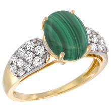 Natural 3.1 ctw malachite & Diamond Engagement Ring 14K Yellow Gold - SC#R289771Y47