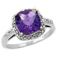 Natural 3.92 ctw Amethyst & Diamond Engagement Ring 14K White Gold - SC#CW401136