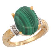 Natural 5.53 ctw Malachite & Diamond Engagement Ring 14K Yellow Gold - SC#CY447200