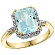 Natural 2.63 ctw Aquamarine & Diamond Engagement Ring 14K Yellow Gold - SC#CY412122