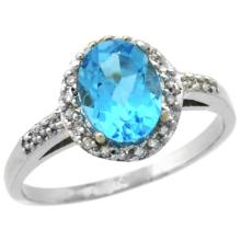 Natural 1.3 ctw Swiss-blue-topaz & Diamond Engagement Ring 10K White Gold - SC#CW904137