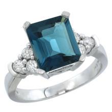 Natural 2.86 ctw london-blue-topaz & Diamond Engagement Ring 14K White Gold - SC#CW405167